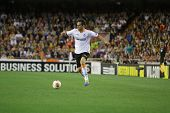 VALENCIA - MAY, 1: Jonas drives the ball to the second goal during UEFA Europe League semifinals mat