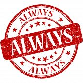 Always Red Round Grungy Vintage Isolated Rubber Stamp