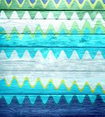 painted wave old wooden wall