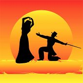 stock photo of debonair  - Background illustration with debonair dancers against an sunset - JPG