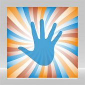 Colorful hand sunburst vector.