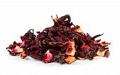 picture of hibiscus  - Dry hibiscus tea isolated on white background - JPG
