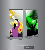 Vector roll up banner display template for designers