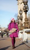 Happy Tourist Girl With Funny Bag In Paris On The Pont Alexandre Iii