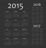 Set Of Black European 2015, 2016, 2017 Year Vector Calendars