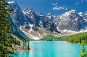 stock photo of emerald  - Majestic mountain lake in Canada - JPG