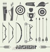 stock photo of archery  - Collection of retro style archery icons and equipment - JPG