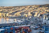 VALPARAISO, CHILE - AUGUST 9: View on the one of the chilean most important seaports on August 9, 20