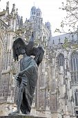 Statue In Front Of St. John's Cathedral At 's-hertogenbosch, Netherlands