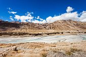foto of manali-leh road  - Himalayas landscape road between Manali and Leh India - JPG