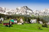 stock photo of yugoslavia  - Local houses in Zabljak and mountains Montenegro - JPG