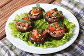 pic of portobello mushroom  - Appetizer of mushrooms stuffed with vegetables on lettuce leaves on a white plate - JPG
