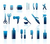foto of hairspray  - Set Of Hairdressing Accessories and means for care of hair - JPG