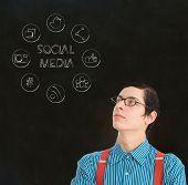 Nerd Geek Businessman With Social Media Icons