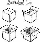Hand-drawn vector open box