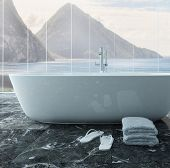 Pciture of white bathtub in front of floor to ceiling window
