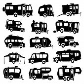 stock photo of recreational vehicle  - Vector set of funny cartoon Recreational Vehicles - JPG