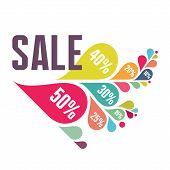 Sale Vector Banner - Colorful Petals - Illustration Concept
