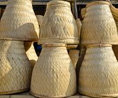 Thai Handmade Bamboo Basketwork For Sticky Rice Steaming