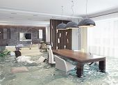 stock photo of bucket  - flooding in luxurious interior - JPG