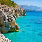 Rocky Adriatic coast with a clear blue sea
