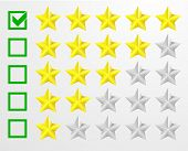 detailed illustration of a five star rating system, eps10 vector