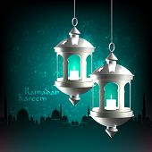 stock photo of pelita  - Vector 3D Muslim Oil Lamp - JPG