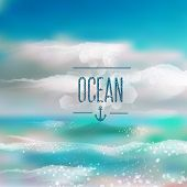 Spring and summer watercolor ocean background with shining sparks and bokeh. Vector Illustration, Gr