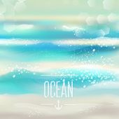 image of mood  - Spring and summer watercolor ocean background with shining sparks and bokeh - JPG