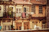 Thin Houses In Old Town, Porto, Portugal