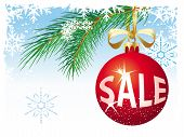 foto of christmas-present  - Christmas sale Vector concept Illustration with red ball - JPG