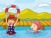 Illustration of the kids enjoying the refreshing water