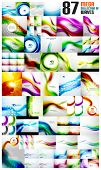 stock photo of web template  - Mega collection of wave abstract backgrounds with copy space - JPG