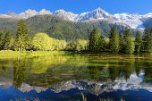 Gorgeous reflection in the smooth water of the lake in the park.  Snowy mountains and evergreen fore