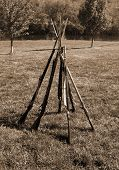Confederate Army Rifles Stacked at Camp