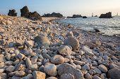 Rocky beach in the Ushant island, Brittany, France