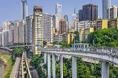 Chongqing, China Financial District cityscape in the day.