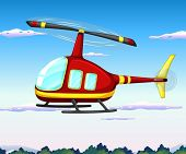 Illustration of a helicopter flying in the sky