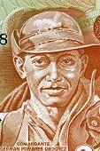 NICARAGUA - CIRCA 1979: German Pomares Ordonez (1937-1979) on 20 Cordobas 1979 Banknote from Nicaragua. Nicaraguan revolutionary and National Hero.