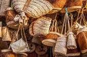 Wicker Basket In Marketplace, Gafsa, Tunisia