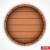 Set of wooden casks for alcohol drinks emblem