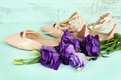 Beautiful woman shoes with flowers on wooden background