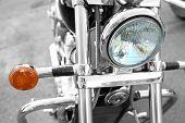 Motor bike headlight, close-up