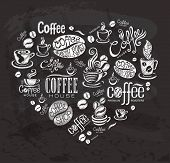 Coffee labels. Design elements on the chalkboard.