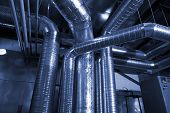 picture of air conditioning  - Ventilation pipes of an air condition in blue tone - JPG