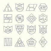 picture of wigwams  - Set of retro vintage badges quality in thin line style - JPG