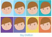 pic of emoticons  - face of boy emoticon or emotion feeling color vector style - JPG