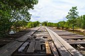 Deteriorated wooden bridge