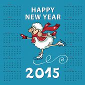 Calendar 2015 Year of Sheep. Cartoon sheep skating