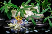 Spa Setting Of Passiflora Flower, Branches, Towels, Zen Basalt Stones With Drops And Pearl Beads In